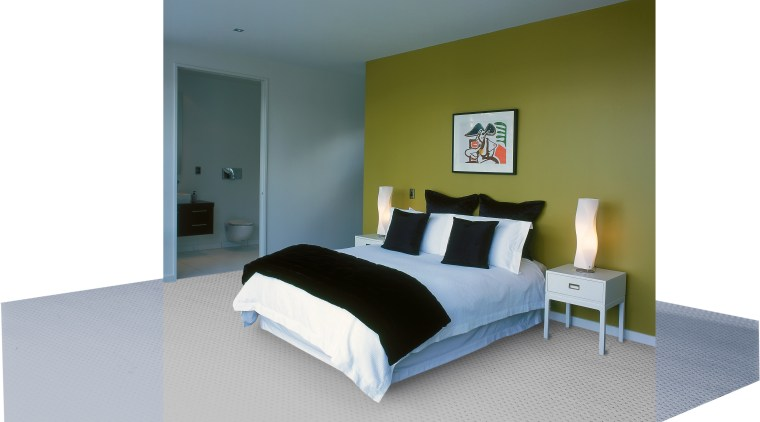 View of the master bedroom with green toned bed, bed frame, bedroom, furniture, interior design, mattress, room, gray, white