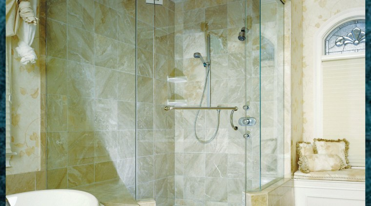 View of this shower unit within this bathroom bathroom, ceiling, floor, glass, interior design, plumbing fixture, room, tile, wall, window, gray