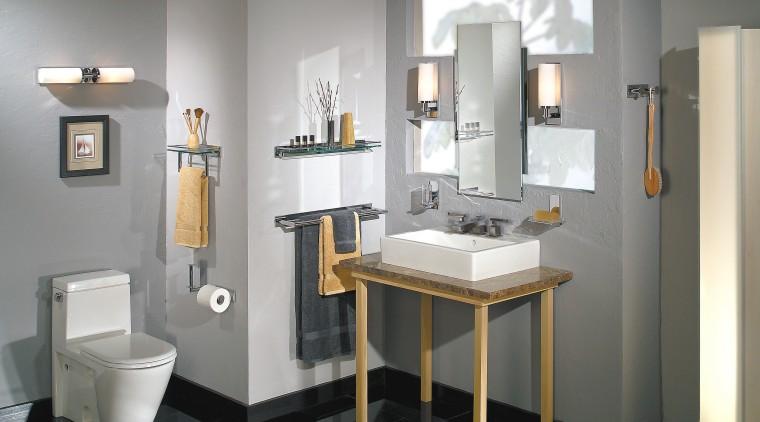 View of this bathroom bathroom, bathroom accessory, bathroom cabinet, interior design, plumbing fixture, product design, room, sink, gray, white