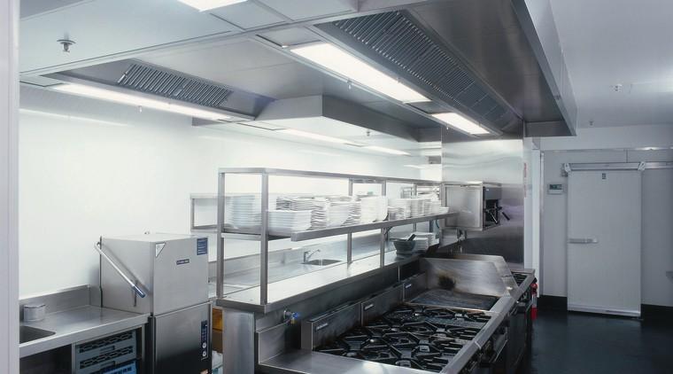View of this hospitality kitchen kitchen, gray, black