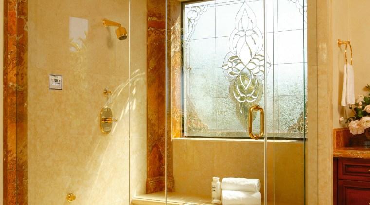 View of the shower unit bathroom, floor, glass, home, interior design, plumbing fixture, room, wall, orange