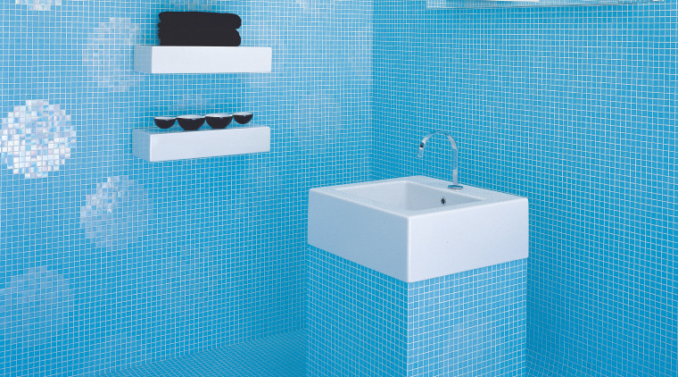 View of the bathroom tiled by Bisazza azure, bathroom, blue, plumbing fixture, product, product design, purple, toilet seat, teal