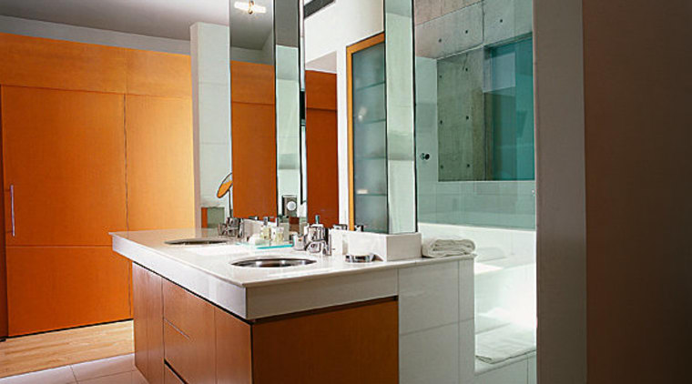 View of a bathroom, tiled flooring, wooden vanity, architecture, bathroom, cabinetry, countertop, interior design, kitchen, room, sink, brown