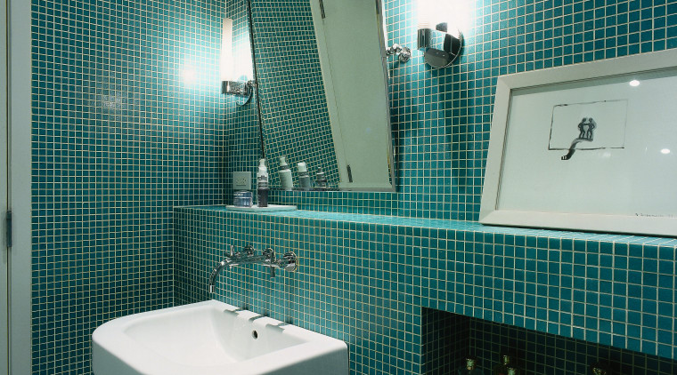 Interior view of bathroom architecture, bathroom, daylighting, glass, interior design, plumbing fixture, product, public toilet, room, tile, toilet, teal