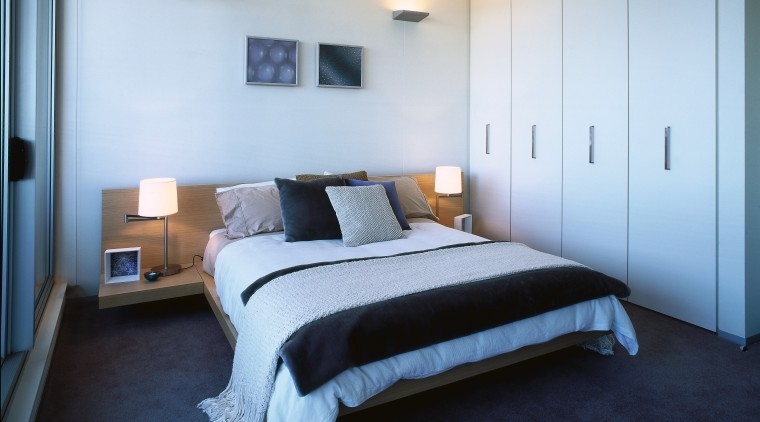 Bedroom with neutral coloured painted walls, and wardrobe bed, bed frame, bedroom, ceiling, floor, home, interior design, property, real estate, room, suite, wall, white