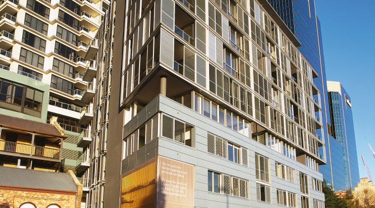Exterior of apartment building with zinc cladding and apartment, architecture, building, city, commercial building, condominium, downtown, facade, home, hotel, house, metropolis, metropolitan area, mixed use, neighbourhood, real estate, reflection, residential area, sky, skyscraper, tower block, urban area, window, black