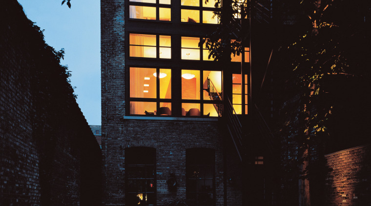 View of the building architecture, building, darkness, evening, facade, home, house, landscape lighting, light, lighting, night, reflection, sky, sunlight, tree, black