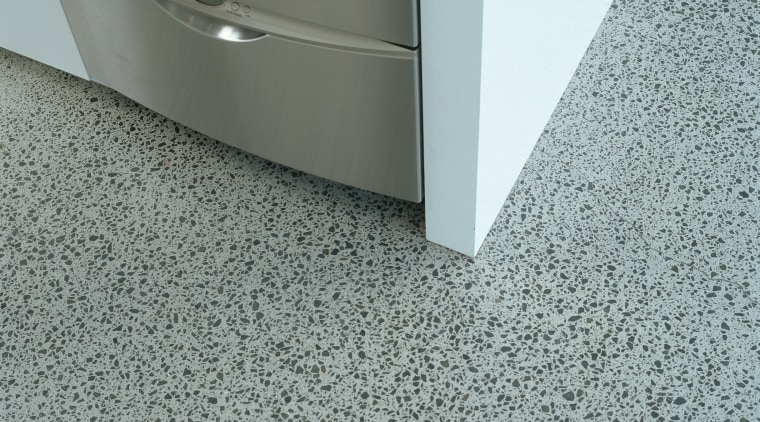 Close view of this polished floor floor, flooring, line, product design, tile, gray