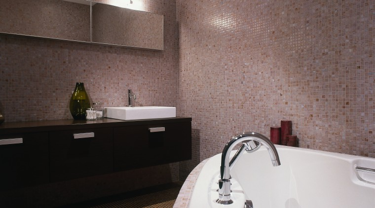 View of this bathroom bathroom, bathtub, ceiling, floor, flooring, interior design, property, room, tile, wall, gray