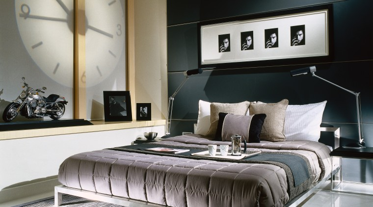 Bedroom with tones of grey and oatmeal, dark bed, bed frame, bedroom, ceiling, floor, furniture, interior design, living room, mattress, room, wall, black, gray