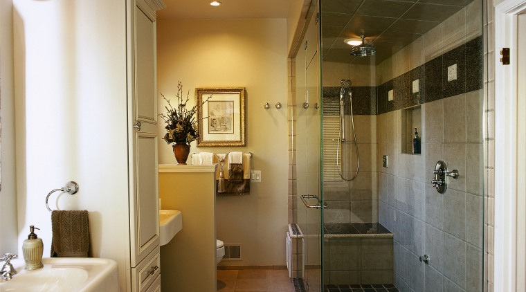 Interior view of the bathroom bathroom, cabinetry, ceiling, floor, flooring, home, interior design, real estate, room, brown