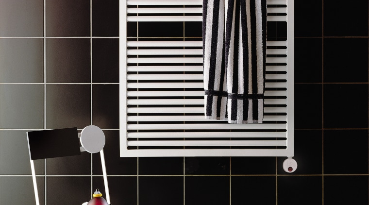 View of this bathroom accessory black, floor, flooring, furniture, interior design, line, product, shelf, shelving, tile, wall, window, black