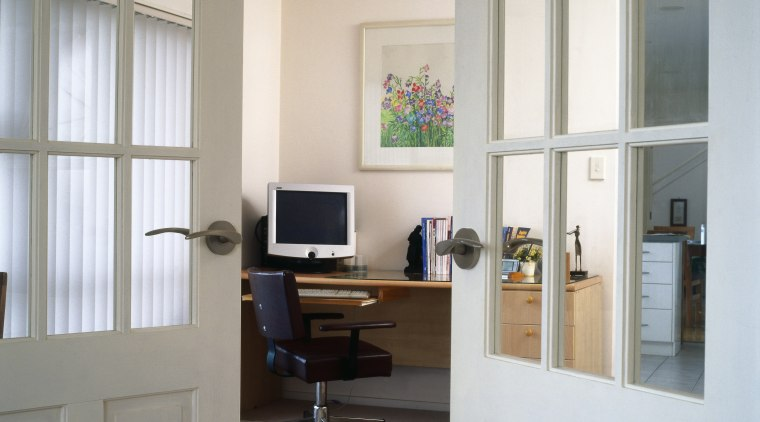 Two doors with glass panels and lever door furniture, interior design, office, real estate, shelving, window, gray, white