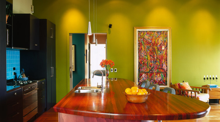 view of this colourful kitchen using maroon colours ceiling, countertop, dining room, home, interior design, kitchen, living room, real estate, room, table, brown, orange
