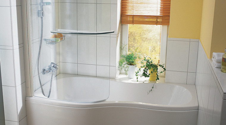 Examples of a freelance bathroom suite with a angle, bathroom, bathroom accessory, bathroom cabinet, curtain, interior design, plumbing fixture, room, window, window treatment, gray