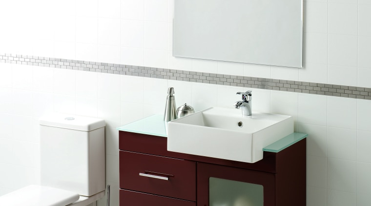 Bathroom with white walls, floor and toilet, dark angle, bathroom, bathroom accessory, bathroom cabinet, bathroom sink, ceramic, plumbing fixture, product, product design, sink, tap, white