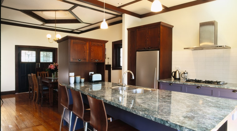 view of laminate benchtop, cabinetry and kitchen appliances countertop, estate, interior design, kitchen, property, real estate, room, orange, brown
