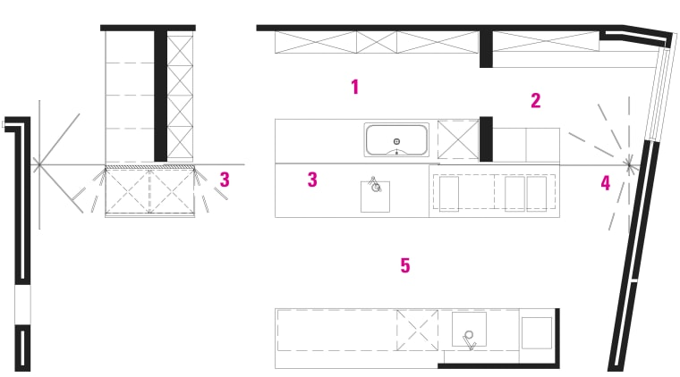 plan view of the kitchen area angle, area, design, diagram, drawing, floor plan, font, line, pattern, product, product design, square, structure, text, white
