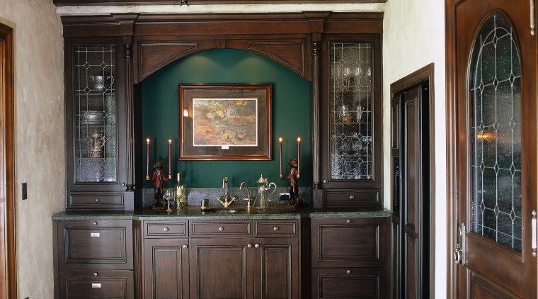 View of the wine tasting room, light brown cabinetry, ceiling, countertop, cuisine classique, estate, flooring, furniture, interior design, kitchen, black, gray