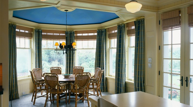 View of the dining area in this vacation ceiling, dining room, interior design, real estate, room, window, brown, gray