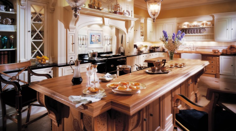 view of this edwardian kitchen designed by clive countertop, dining room, furniture, interior design, kitchen, room, table, brown, black