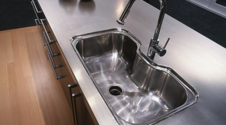 An example of the ways Brightworks Stainless, stainless bathroom sink, countertop, plumbing fixture, product design, sink, tap, gray, black