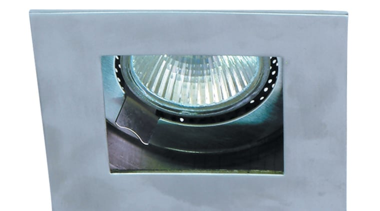 Closeup of outdoor stainless steel halogen lamp. light, product, product design, gray, white