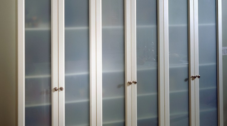 view of the vertical frosted glass panels for cabinetry, door, window, gray