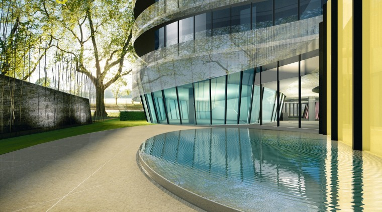 Exterior view of residential tower with curved glass apartment, architecture, building, condominium, corporate headquarters, daytime, facade, headquarters, leisure centre, mixed use, property, real estate, reflection, urban design, water, window, gray