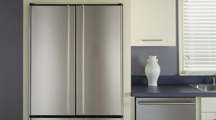 An example of an easy to use and cabinetry, cupboard, furniture, home appliance, kitchen appliance, major appliance, refrigerator, gray