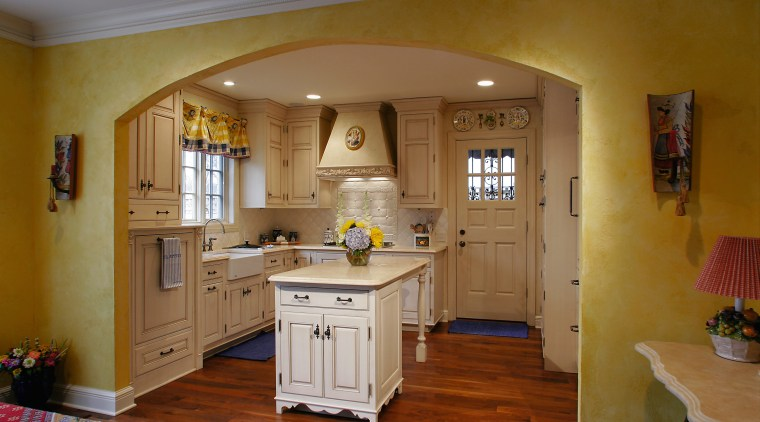 View of this french country kitchen cabinetry, ceiling, countertop, cuisine classique, floor, flooring, furniture, hardwood, home, house, interior design, kitchen, real estate, room, table, brown