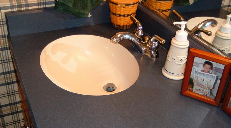 view of  the undermount ktichen sink bathroom, ceramic, countertop, floor, flooring, furniture, plumbing fixture, room, sink, table, tile, black