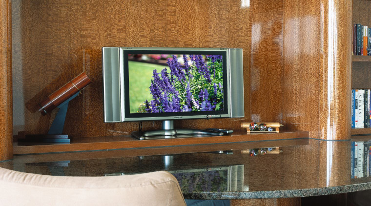 view of the plasma flat screen tv desk, furniture, home, interior design, shelving, table, wall, wood, brown