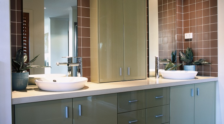 view of the custom cabinets with a 2 bathroom, bathroom accessory, bathroom cabinet, cabinetry, countertop, interior design, kitchen, room, sink, gray, brown