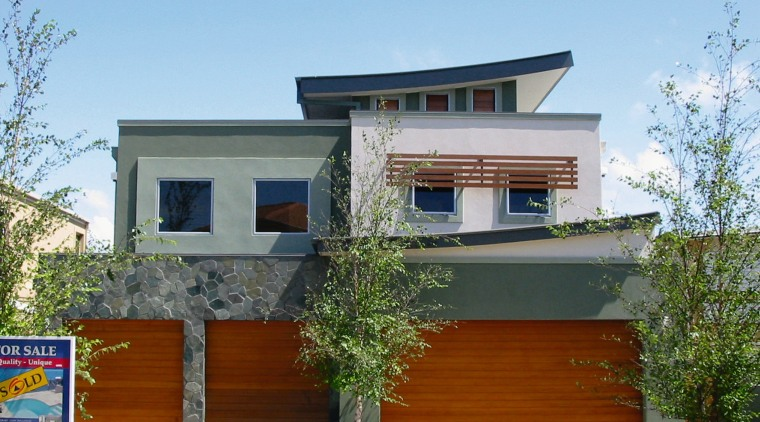 Exterior of two storey units with stone cladding, architecture, elevation, facade, home, house, property, real estate, residential area, siding, teal