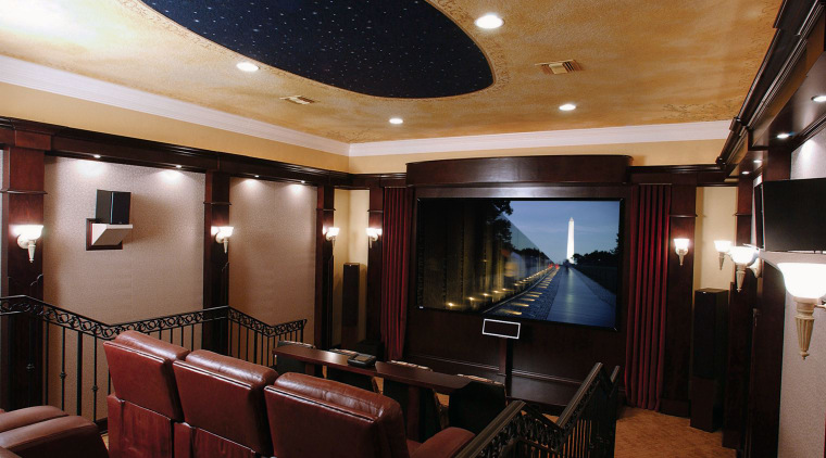 View of a family home theatre, red leather ceiling, entertainment, interior design, room, black