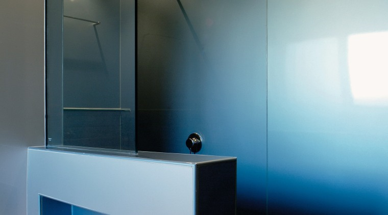view of the shower wing wall showing recessed architecture, bathroom, ceiling, glass, interior design, light, light fixture, lighting, product design, room, sink, black, gray