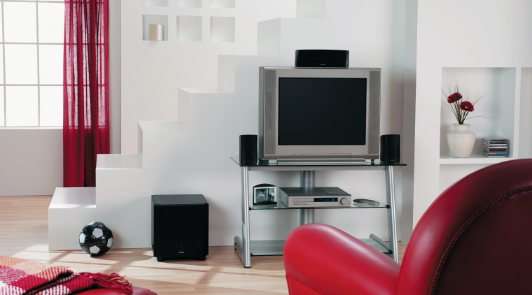 view of the home etertainment centre showing boston furniture, interior design, living room, product design, room, gray