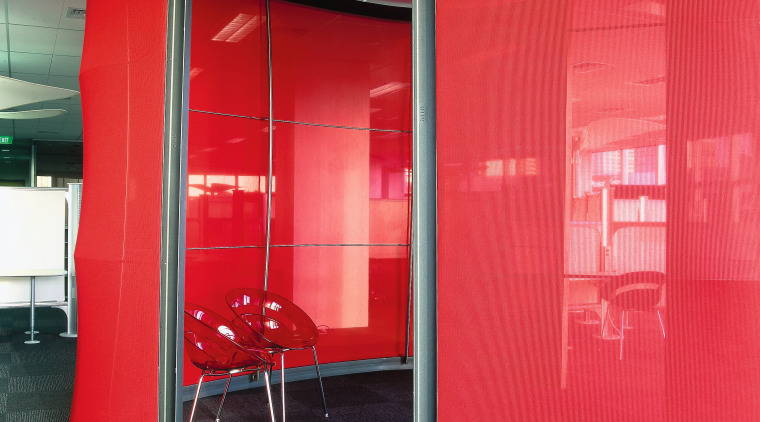 view of the red pod small meeting room architecture, ceiling, door, glass, interior design, red, wall, wardrobe, red
