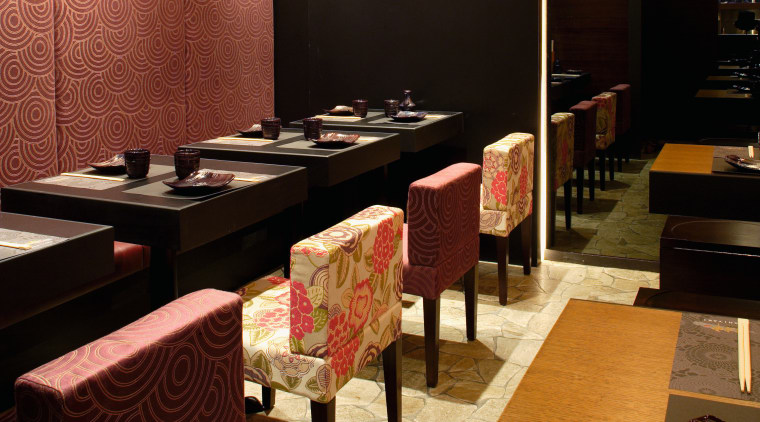 individual tables are provided in addition to bench flooring, interior design, restaurant, table, black
