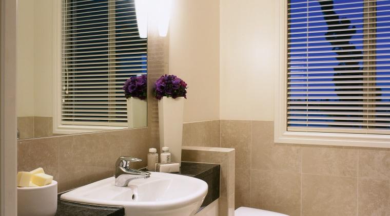 view of the bathroom area with tiled walls/floor bathroom, bathroom accessory, home, interior design, room, sink, window, window blind, window covering, window treatment, gray
