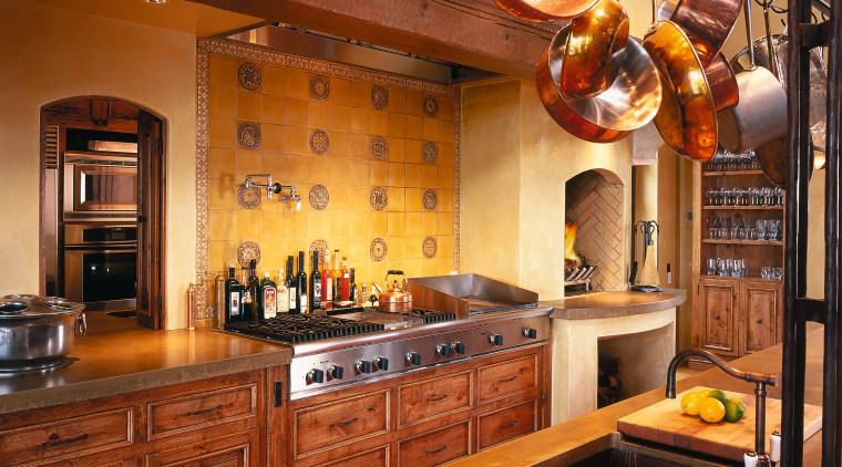 A view of a kitchen wooden cabinetry, cream countertop, cuisine classique, interior design, kitchen, room, brown, orange