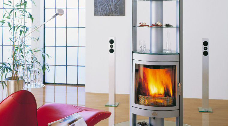 Stove/fireplace  in living area fireplace, hearth, heat, home appliance, interior design, major appliance, product design, wood burning stove, white