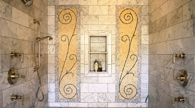 view of the shower area showing ceramic tile architecture, wall, window, brown, orange
