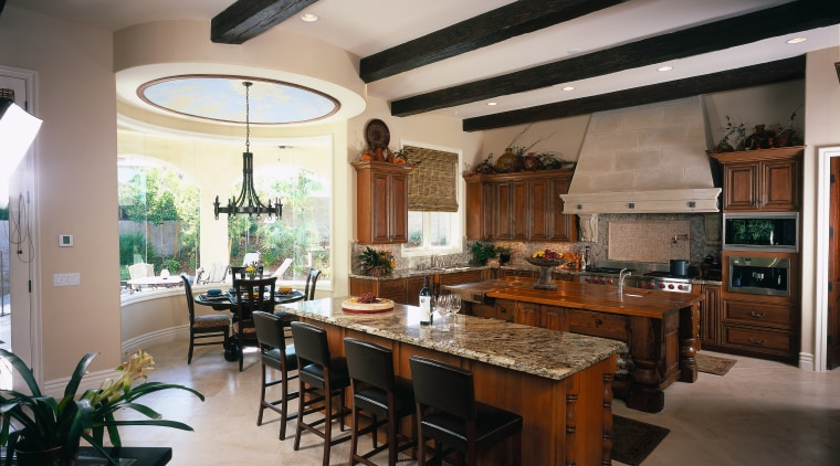 view of the euro-lite ceiling beams and tereka ceiling, countertop, cuisine classique, estate, interior design, kitchen, room, gray, black