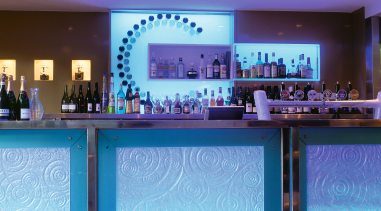View of bar with blue and patterned glass bar, blue, display device, function hall, interior design, lighting, purple, restaurant, blue, teal