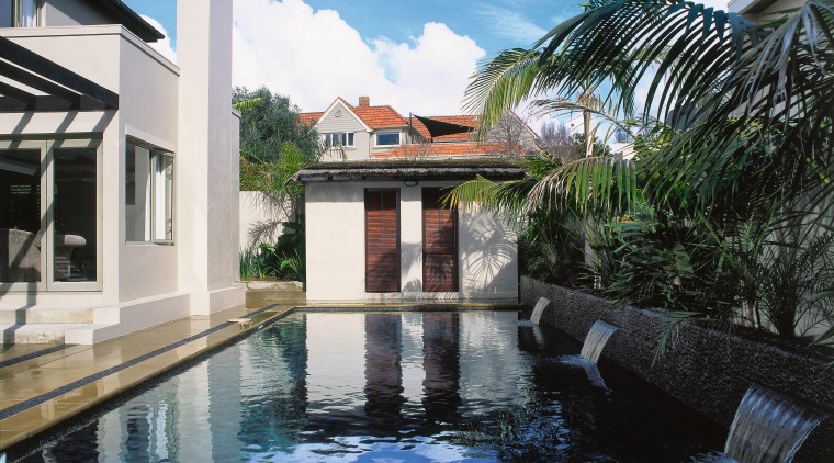 Long swimming pool with dark finish, water features, arecales, estate, hacienda, house, leisure, palm tree, property, real estate, reflecting pool, resort, swimming pool, villa, water, black