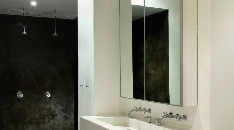 the master bathroom os open to the master architecture, bathroom, bathroom accessory, bathroom cabinet, floor, interior design, room, sink, gray