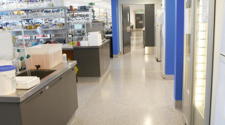 View of laboratory with speckled flooring and blue floor, flooring, institution, interior design, gray