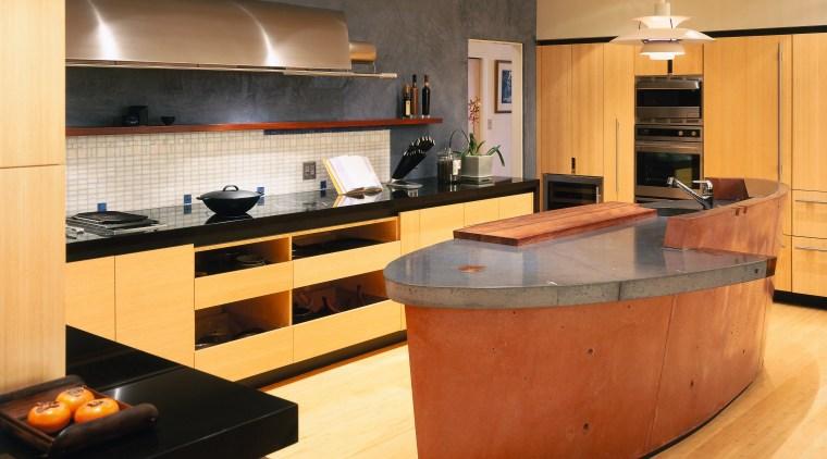 A view of akitchen, wooden cabinetry and flooring, cabinetry, countertop, cuisine classique, floor, flooring, hardwood, interior design, kitchen, room, orange